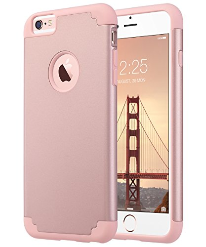 ULAK iPhone 6 Plus Case, iPhone 6S Plus Case, Slim Dual Layer Soft Silicone and Hard Back Cover Anti Scratches Bumper Protective Case for Apple iPhone 6 Plus / 6S Plus 5.5 inch - Rose Gold