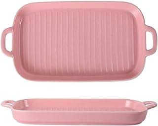 Lasagna Pan Ceramic Binaural Striped Pan Western Dessert Baking Baking Rectangular Sushi Plate Multi Baker Dish (Color : Pink, Size : One size)