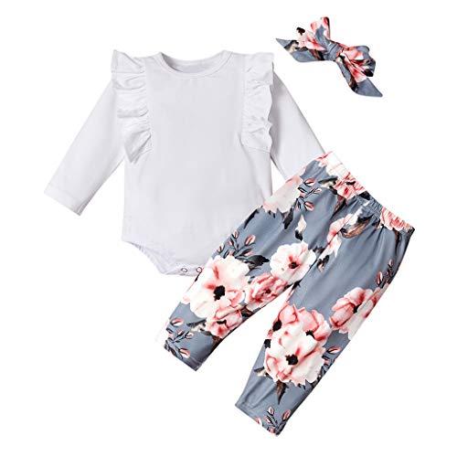DAY8 Vetement Bebe Fille Pas Cher Pyjama Bebe Fille Hiver Cadeau Naissance Fille Ensemble Bebe Fille Manche Longue Grenouillere Barboteuse Body Bebe Fille Fleur + Pantalon (70(0-6 Mois), Blanc)