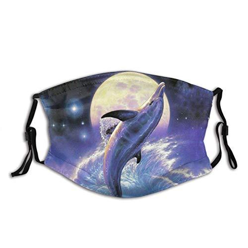 Hermosa máscara facial de estrella delfín unisex pasamontañas cubierta de boca con filtro resistente al viento a prueba de polvo máscara ajustable