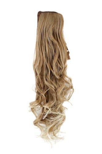 WIG ME UP ® - YZF-1094HT-27T613 Haarteil Zopf Blond-Mix wellig 63cm mit Band/Bändchen und Klammer befestigt