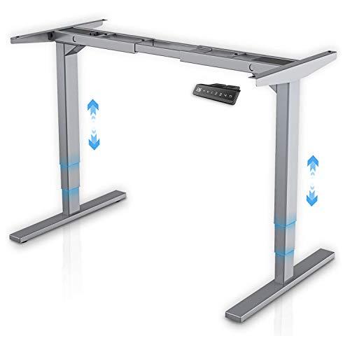 MAIDeSITe höhenverstellbarer elektrisher Schreibtisch mit 2 starken Motoren, höhenverstellbares tischgestell 3 teiligen Beinen sowie auch 4 Memory-Steuerung und Kollisionschutz Funktion(Grau)