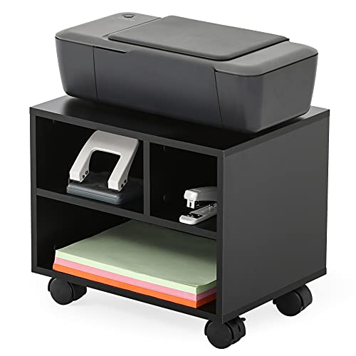 FITUEYES Soporte para Impresora con Ruedas 3 Compartimientos Madera Negro Carrito Organizador para Oficina Casa 40x30x35cm PS304003WB