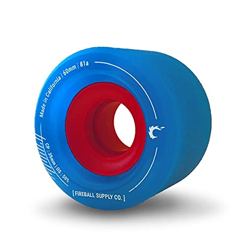 Fireball Tinder 60mm 81a Durometer Skateboard & Longboard Wheels x 4 (Blue)