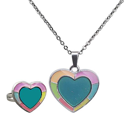 Collar con Colgante de Corazón Dulce con Anillo - Collar con Cambio de Color de Humor Gargantilla Juego de Joyas de Emoción para Mujeres Regalos