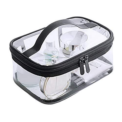 nuoshen Neceser transparente para cosméticos, una bolsa de aseo transparente, resistente al agua, set de viaje de PVC, bolsa de aseo con cremallera para aviones de viaje, cuarto de baño