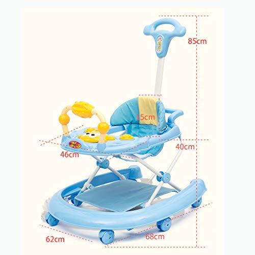 Moolo Trotteurs Baby Walker, Premiers Pas Comprend 6 Mois à 15 kg 3 en 1 Roues de Transport Musique légère Siège de Centre de Jeu Amovible Réglable en Hauteur (Couleur : Vert)