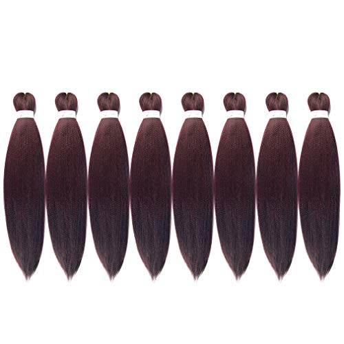 """Lady Corner Pre-Stretched Braiding Hair Omber 26""""-8 Packs Long Itch Free Hot Water Setting Synthetic Fiber Crochet Braiding Hair Extension (26inch, 99j)"""