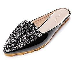 Black Flat Mule Pointed Toe Sequins Open Back Sandal