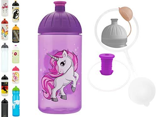 FreeWater Trinkflasche, 500ml, Einhorn 2 lila: schadstofffrei, kohlensäuredicht, spülmaschinengeeignet, langlebig