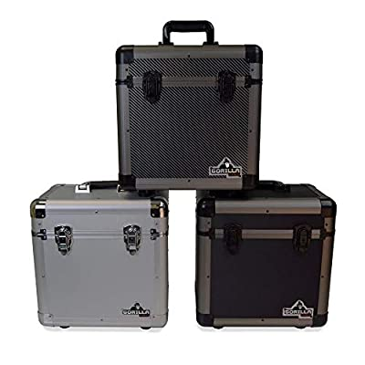 "Gorilla LP80 12"" LP Vinyl Record Storage Carry Case - Holds 80-3 Colours Available (Carbon)"
