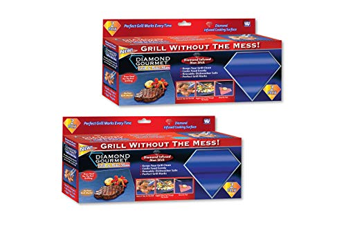 Spark Innovators Diamond Gourmet Grill & Bake Mats - Non Stick Grill and Bake Mats for Grilling - As Seen on TV - Set of 4