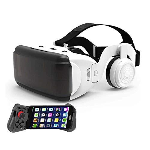 ZDSKSH Gafas Realidad Virtual Profesionales, VR Gafas Auriculares VR Glasses Visión Panorámico 360 Grado Película 3D Juego Immersivo para Móviles 4.0-6.0 Pulgada, Ángulo de visión 100°