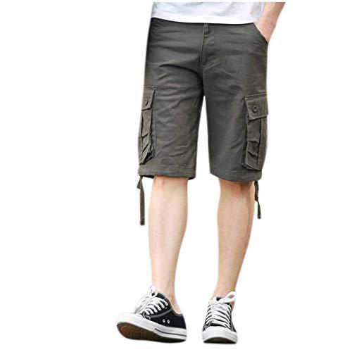 ZEFOTIM - Pantalones Cortos Informales para Hombre (algodón, multibolsillo) - - 54