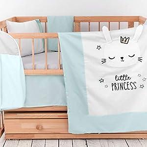 8 Piece 100% Cotton Crib Bedding Sets for Girls | Premium Baby Bedding Crib Set | Plush Design Nursery Crib Set | Satin Turkish Cotton | Embroidery Collection | Includes Mattress Protector