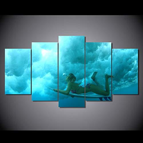 WJDJT Foto's Skateboarding Meisjes Muurschildering 200 x 100 cm vlies - Canvas foto Muurschilderingen Woonkamer Huis Deco Kunstdrukken 5-delig Modern Wand Ophangen Home Decoratie 125x60cm