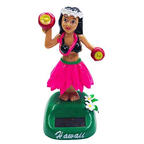 Amosfun Solarfigur Wackelkopf Tanzen Figuren Hawaiian Mädchen Wackelfiguren Druckfigur für Auto Armaturenbrett Dekoration (Rosa)