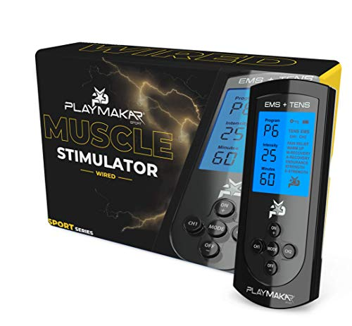 PlayMakar PRO-500 Sport Muscle Stimulator System with EMS or NMES TENS Unit Combination, Strength