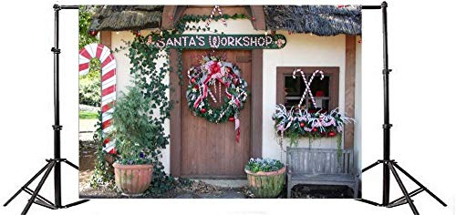10x6.5ft Vinyl Backdrop Photography Background Santa s Workshop Christmas Wreath Green Vine Leaves Plant Pots Entrance Door Candy Cane Childhood Memory Kids Adult Photo Backdrop Canvas Studio