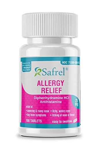 Safrel Allergy Relief Medicine (100 Tablets) Antihistamine, Diphenhydramine HCl 25 mg for Children and Adults | Relieves Sneezing, Runny Nose, Hay Fever Symptoms, Itchy Nose, Eyes and Throat