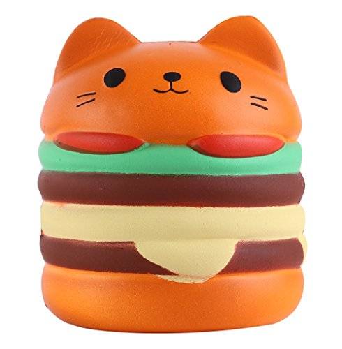 Anboor Squishies Cat Hamburger Scented Squishies Slow Rising Kawaii Stress Relief Toy for Collection Gift Toy Hop Props, Decorative Props