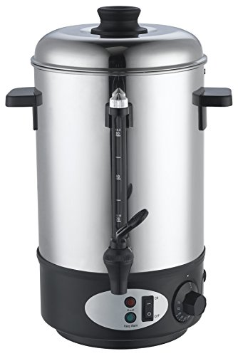 Slabo Glühweinbehälter mit einem Topf aus Edelstahl | 1800W | 8 Liter | 30°C - 100°C | Einkochautomaten | Glühweintopf | Spender | Glühweinbehälter | Glühweinkessel - SILBERSCHWARZ
