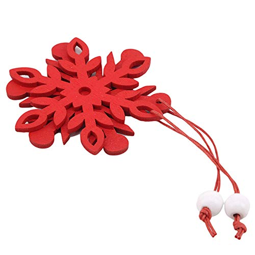 CAVIVIUK 6 Pieces Hollowed Snowflakes Ornament for Christmas Decorations,Red