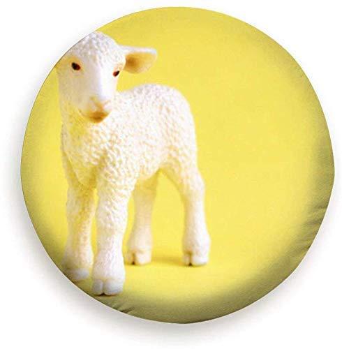Beth-D Small Toy Lamb Beeldje Kunststof Schapen Dieren Wildlife Dier Polyester Universele Reservewiel Band Cover Wiel Covers 14-17inch