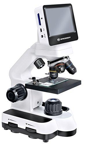 Bresser digitales LCD Mikroskop 40x-1400x Vergrößerung mit 4,35 Zoll Touch Display und 5 Megapixel Auflösung mit USB und SD Karten Anschluss und AV-Out inklusive Farbfilterrad und Mikroskopierbesteck