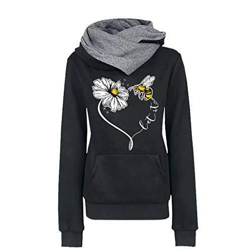 Check Out This HebeTop Save The Bees Hooded Sweatshirt - Women Honey Bee Environment Hoodie Black