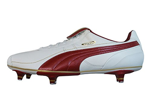 Puma King XL SG Mens Leather Football Boots/Cleats - White & Red - SIZE EU 41
