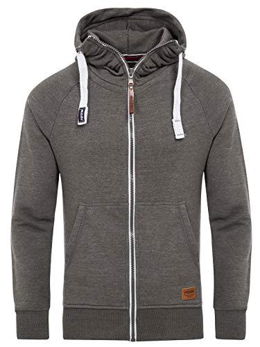 Yazubi Sweater Dunkelgrauer Hoodie Oversize Herren Pullover Reißverschluss Kapuzenjacke Männer Zip Pulli Jacob, Grau (Tornado 183907), XXL
