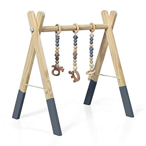 RELAX4LIFE Spieltrapez aus natürlichem Holz, für Baby über 3 Monaten, Spielbogen im nordischen Stil, Aktivitätscenter mit 3 Hängespielzeugen für die Gehirnentwicklung & körperliche Entwicklung (Grau)