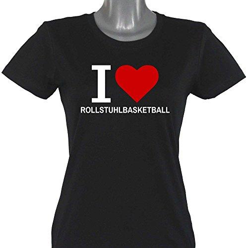 T-shirt Classic I Love rolstoelbasketbal zwart dames maat S tot 2XL