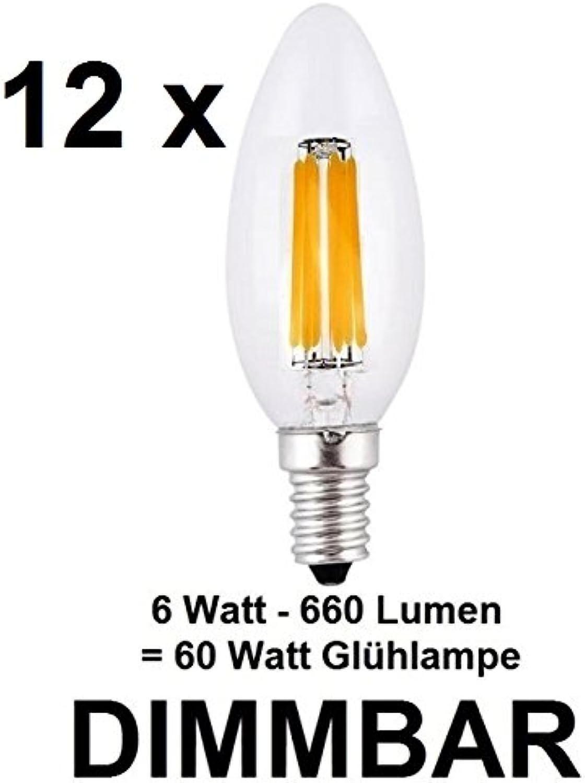 12 x dimmbare 6 Watt FADEN FILAMENT LED Lampe, traditionelle Kerze in Klarglas, Fassung E14, Retrofit, Warmweiss ca. 2700 Kelvin, 660 Lumen wie ca. 60 Watt Glühlampe, ideal für Kronleuchter