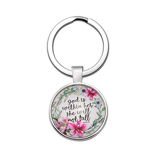 Inspirational Christmas Gifts for Women Christian Keychain Bible Verse Religious Personalized God is Within Her She Will not Fall