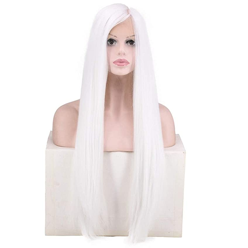 強制的ぶどうシャッターYrattary 女性のための白の長いストレートヘア手編みのレースのフロントかつらコスプレパーティードレスのための耐熱性繊維レースのかつらロールプレイングかつら (色 : ホワイト)