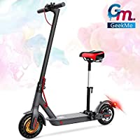 GeekMe Patinete eléctrico con asiento de 8,5 pulgadas 25 km / h | Scooter eléctrico plegable con pantalla LCD | Batería de litio 7.5 A | Carga máxima 120 kg para adultos y adolescentes