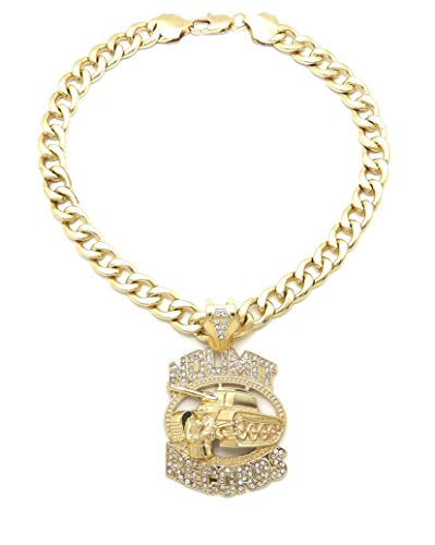 SJ New Hip Hop Iced No Limit Record Pendant 11mm/18 or 20' or 24' Cuban Chain RC3692 (Gold 11mm/18)