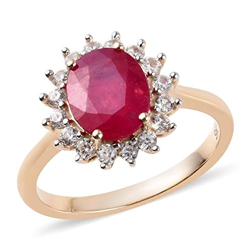 TJC Ruby Halo Ring for Women in 9ct Yellow Gold Anniversary Jewellery Size R with Cambodian Zircon, TCW 3.17ct