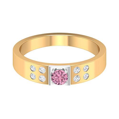 Anillo solitario de turmalina rosa de 3,50 mm, anillo de diamante HI-SI, anillo de compromiso de oro de 2 tonos (calidad AAA), 14K Oro amarillo, Size:EU 53