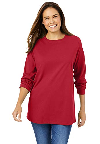 Woman Within Women's Plus Size Perfect Long-Sleeve Crewneck Tee Shirt - 4X, Classic Red