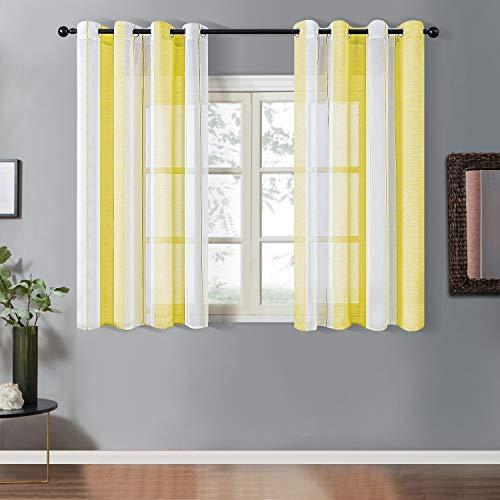 Topfinel Transparente Ösenvorhänge Voile Gardinen mit Schmalen Streifen Dekoschal für Wohnzimmer und Schlafzimmer Fenster 2er Set je 160x140cm (HxB) Gelb