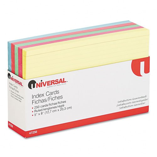 Index Cards, 5 x 8, Blue/Salmon/Green/Cherry/Canary, 250 per Pack -:- Sold as 2 Packs of - 100- / - Total of 200 Each