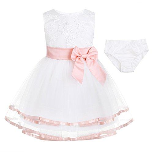 Freebily Vestido Blanco Brodado de Princesa Boda Fiesta Bautizo para Bebé Niña Recién Nacido (0-24 Meses) Rosa de Perla 18-24 Meses
