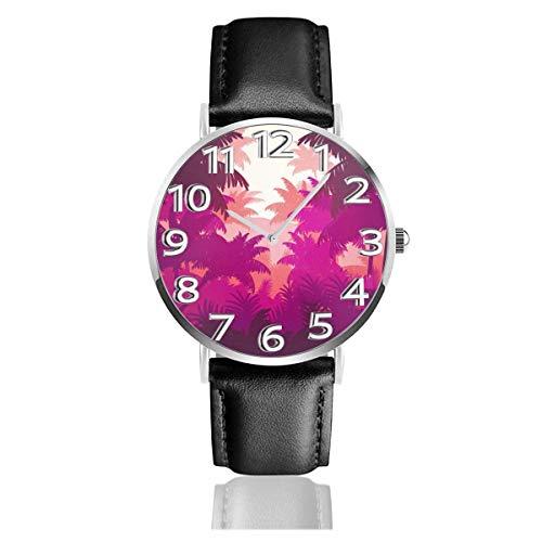 Reloj de Pulsera Hoja Tropical Bosque de Palmeras Correa de Cuero sintético Duradero Relojes de Negocios de Cuarzo Reloj de Pulsera Informal Unisex
