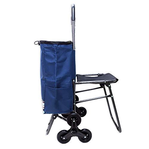 Jaimemavoiture AMICHAT Einkaufstrolley mit 6 Rädern mit Sitz Klappstuhl – Einkaufstrolley