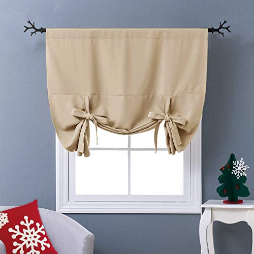NICETOWN Blackout Room Darkening Curtain - Tie Up Shade Blind Bathroom Window Covering (Biscotti Beige, Rod Pocket Panel, 46 inches W x 63 inches L)