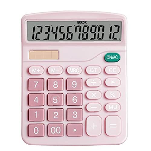YepYes Función de la calculadora de Escritorio estándar de Pantalla LCD de la calculadora electrónica botón básico Grande de 12 dígitos Grandes para Daily Oficina Rosa