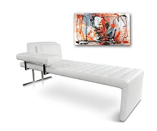NEUERRAUM Bauhaus Daybed Chaiselongue Lounge-Liege Relax Liege Couch Sofa Echtleder, Fuß Edelstahl poliert. Abbildung in Leder Weiß. Handarbeit Unikat!